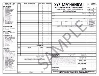 1000 Hvac Plumbing Service Work Order Numbered Invoices 8 5 X 11 Tmg016 Ebay