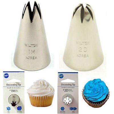 Wilton #1M Open Star & #2D Drop Flower Decorating Tips set of 2 cupcake nozzles