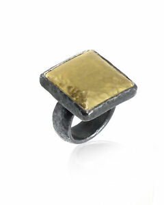 Gurhan Sterling Silver & 24k Yellow Gold Square Ring AR-S-22-MXM