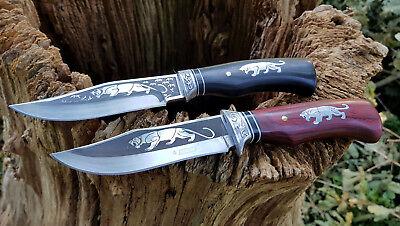 2 X Coltello Coltello Da Caccia Bowie Knife Hunting Cuchillo Coltello Coltello Cespuglio-