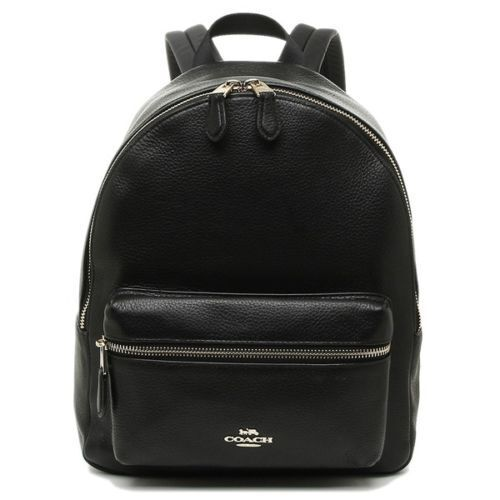 New Authentic Coach F30550 Medium Charlie Backpack in Pebble Leather Gold/Black