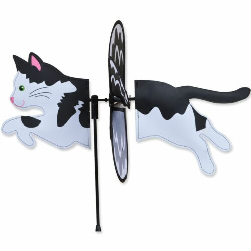 """Black /& White Cat 19/"""" Whirligig Petite Staked Wind Spinner PR 25176"""