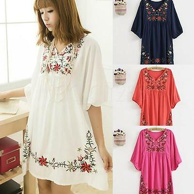 Women Mexican Ethnic Embroidered Pessant Hippie Blouse Gypsy Boho Dress Free Sz