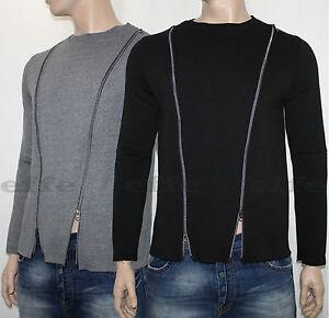 Dettagli su Maglioncino Felpa Uomo Maglia zip girocollo Made in Italy Maglione S M L XL