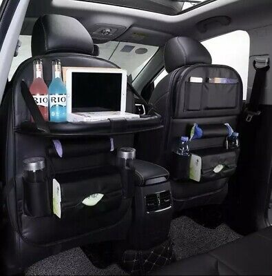 JAUTO Car Back Seat Organizer with Foldable Table Tray PU Leather Car Back Seat