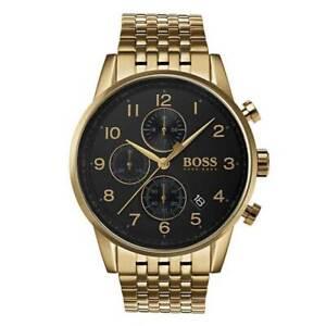 Mens-Hugo-Boss-Gold-Navigator-Chronograph-Watch-HB1513531