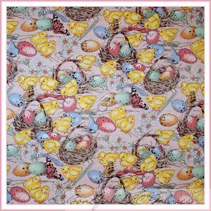 BonEful-Fabric-FQ-Cotton-Quilt-Pink-Easter-EGG-Flower-Baby-Chick-Bird-Butterfly