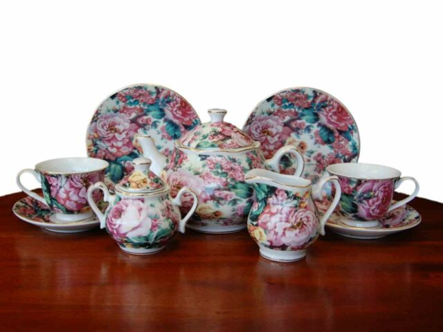 FACTORY 2ND! English Rose, Fine China Children's Princess Tea Party Tea Set