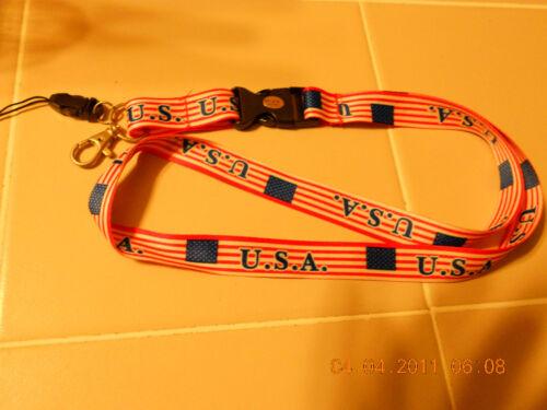 USA FLAG  LANYARD KEY RING ID holder QR  NEW  #2