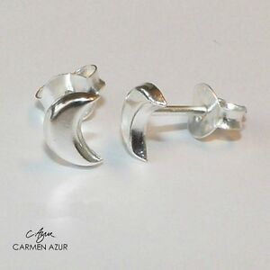 Image Is Loading 925 Sterling Silver Stud Earrings Half Moon Crescent
