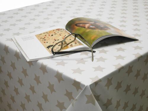 Blanc et beige étoiles PVC Vinyle Toile Cirée Facile à Nettoyer Nappe Tailles Multiples