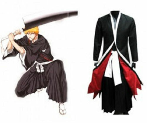 Bleach Kurosaki Ichigo Robe Cloak Coat Japanese Anime Cosplay Costume Size:S/M/L