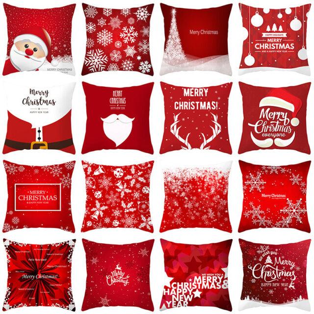 45cm Merry Christmas Pillow Case Xmas Party Home Decor Sofa Cushion Cover  Throw