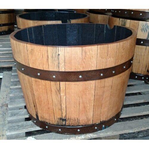 Grande Reciclado Roble Macizo Medio 44 Galón Whisky Barrica Tiesto Jardín