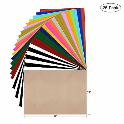 "Iron-On Heat Transfer Vinyl HTV Assorted Colors Bundle 10/"" x 12/"" 26 Sheets DIY"