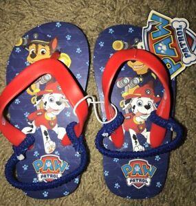 7702ac324 Paw Patrol Toddler Boys Flip Flops Sandals Size SM MED LG With Heel ...