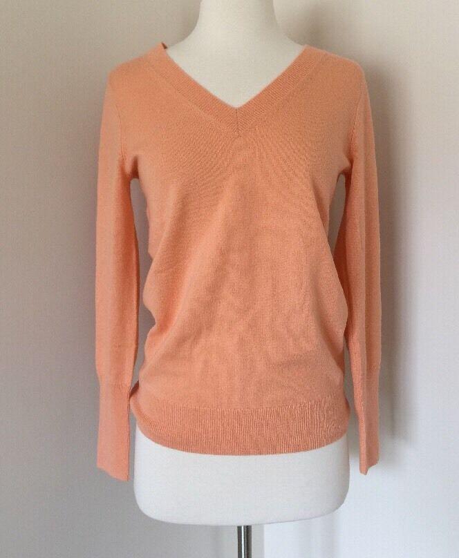 Jcrew  198 italiano 100% Cachemir Clásico Escote en v  suéter naranja melón XS F5914  forma única