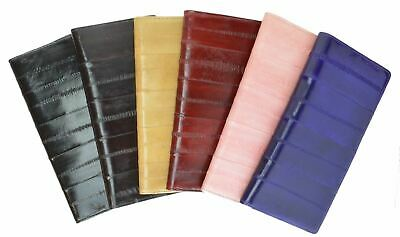 Womens Eel Skin Leather Deluxe Checkbook Credit Card ID Holder Wallet