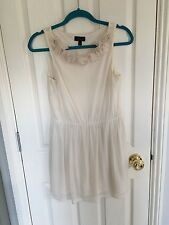 Topshop Cream Flower Neckline Dress, Size 8