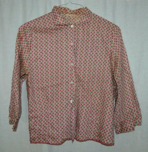 1940s Pink Green Flower Heart Print Cotton Blouse