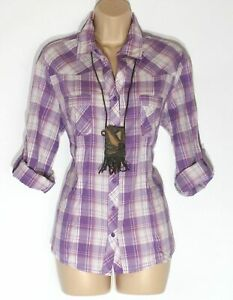 Women-039-s-Vintage-C-amp-A-YESSICA-Long-Roll-Sleeve-Fitted-Purple-Cotton-Shirt-UK18