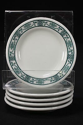 NOS Sterling Vitrified Restaurant China 5 Dessert Plates Green Floral Swag Bands