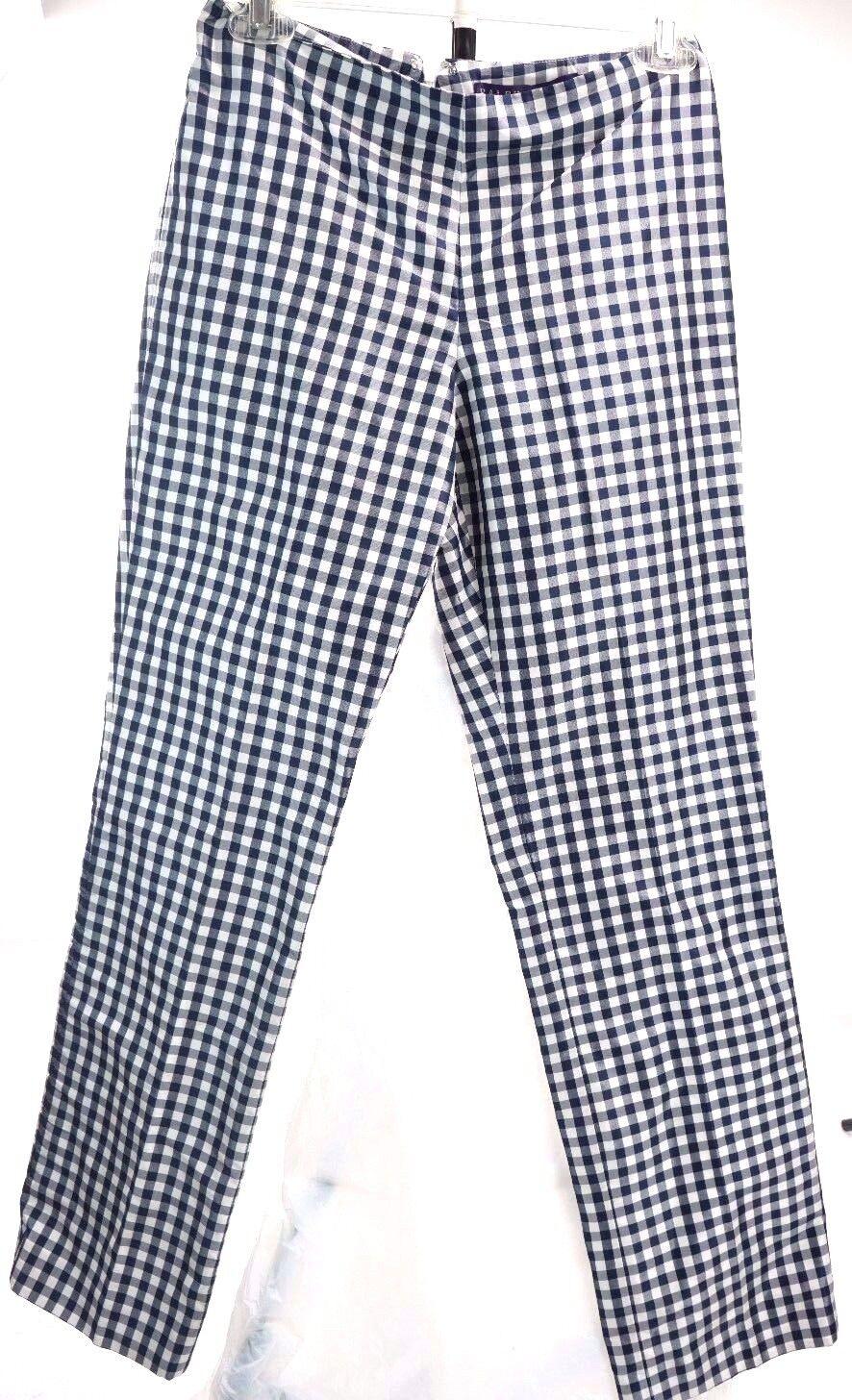 RALPH LAUREN PURPLE LABEL COLLECTION 100% Silk Purple Plaid Pants Size 2 W26 L28