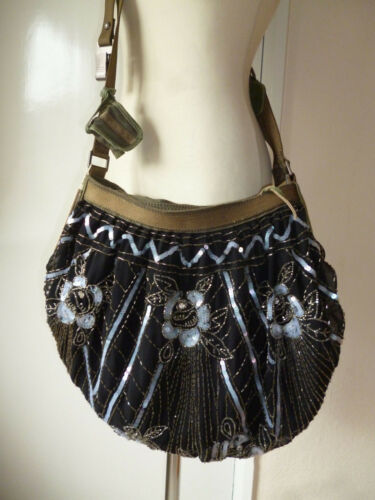 Diesel,PartyChute Sequin&Silk Cross bodyshoulder Bag,Hippy Boho Rock Chick.