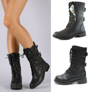 Details about Women Mid Heels Military Boots Combat Buckle Mid Calf Biker  Boots Lace Up Combat
