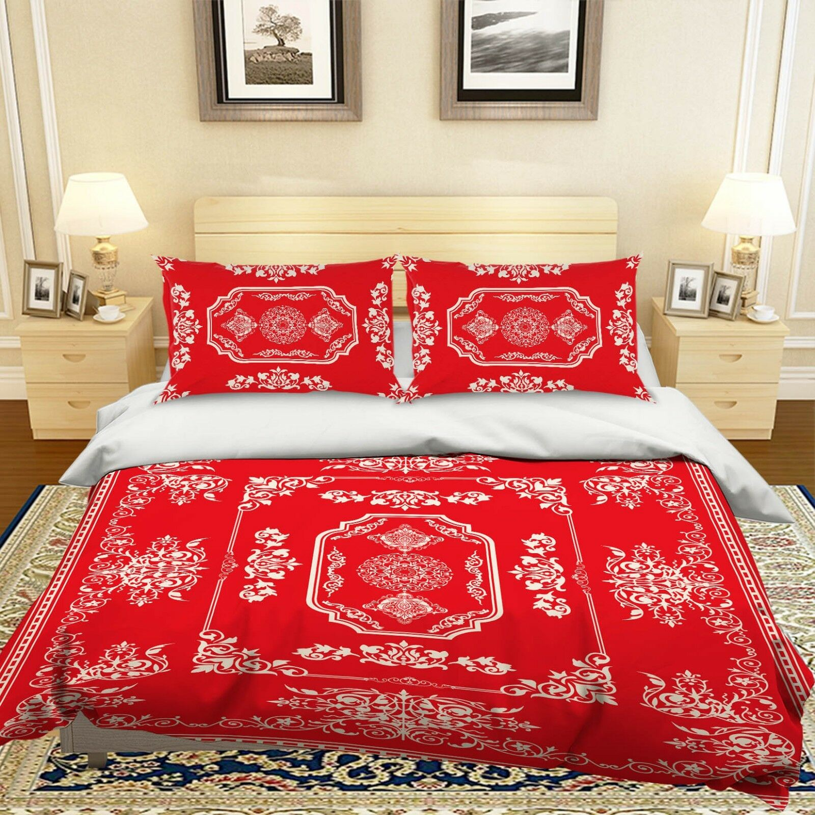 3D Red Totem Paint 99 Bed Pillowcases Quilt Duvet Cover Set Single Queen King CA
