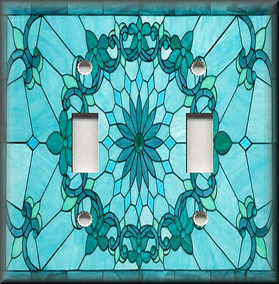 Metal Light Switch Plate Cover - Art Nouveau Decor Stained Glass Blue Turquoise