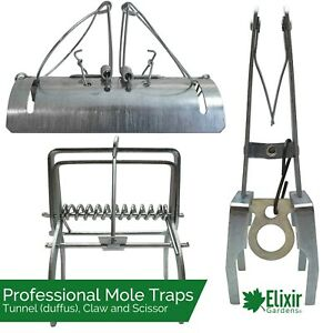 Mole Traps Tunnel/Scissor/Claw/Duffus Professional Quality Heavy Duty