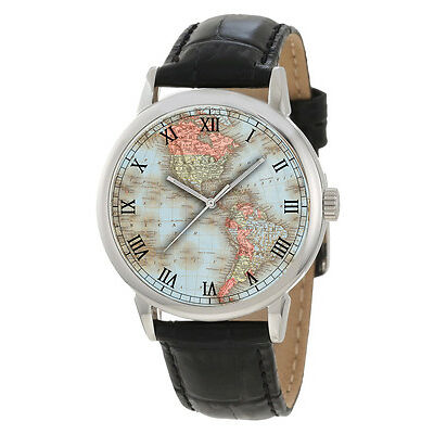 THE NORTH AMERICAS, ANTIQUE CONTINENTAL MAP COLLECTIBLE WRIST WATCH