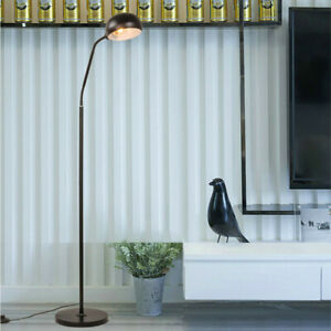 Modern Gooseneck Floor Lamp Adjustable Arm Satin Nickel ...
