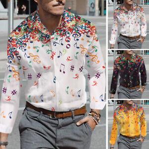 Men-039-s-Long-Sleeve-Music-Printed-Shirts-Hipster-Party-Nightclub-Shirt-Collar-Tops