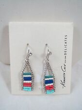 Kenneth Cole delicates silver tone multicolored beaded drop earrings, NWT