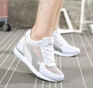 Womens Hollow Out Hidden Heels Sneakers Running Shoes Lace Up Athletic 7cm New