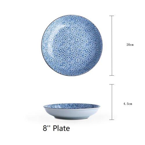 Japanese Blue Crockery Set Ceramic Dish Plate Bowl Dining Serving Tableware New