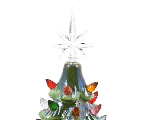 """ReLIVE Christmas is Forever 14.5/"""" Green Pearlized Tree w// Multi Color Lights!"""