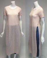 Romeo & Juliet Couture Short Sleeve Peach Ankle Length Tunic Side Slits S, M