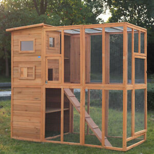 Details About Outdoor Cat Pet House Play Run Enclosure Wooden Fun Small Animal Shelter Tunnel