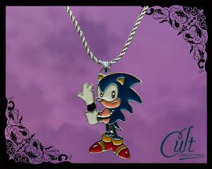 Sega-Sonic-The-Hedgehog-Sterling-Silber-Kunstleder-Halskette-mit-Sonic-Charme
