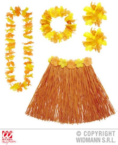 ORANGE Hawaiin Set Tropicale Hawaii Beach Party Costume Accessorio