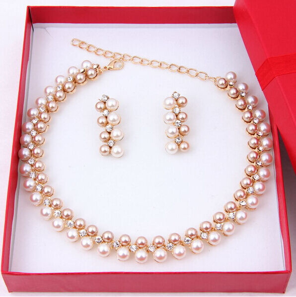 Fashion Women Pearl Necklace Earring Set Wedding Bride Gold Plated Jewelry set