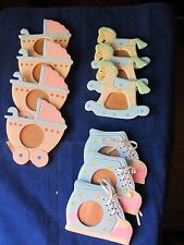 Set of 10 New Wooden Baby Infant Picture Photo Frames Bootie Stroller Horse 4""