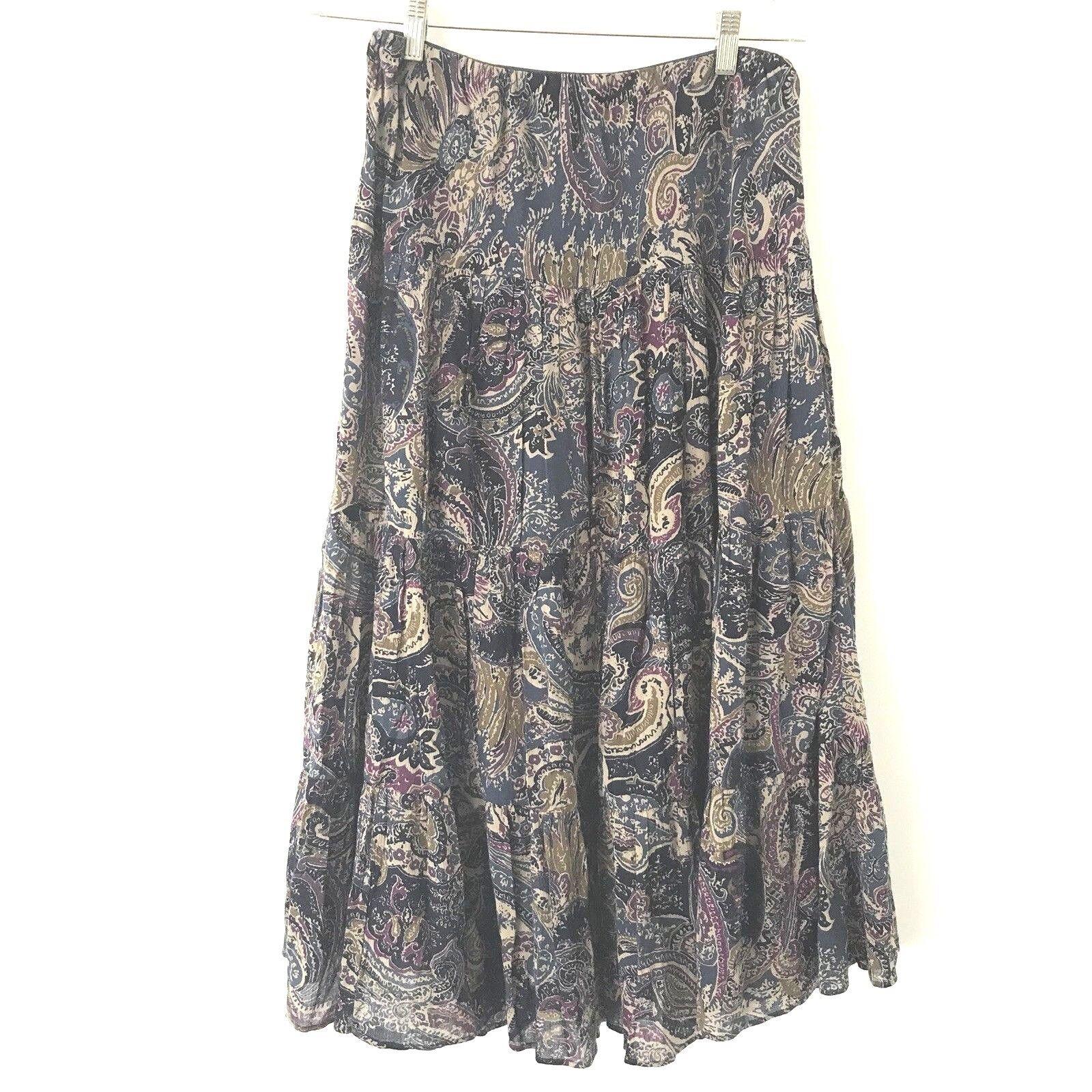 Chaps Denim M Lagenlook Paisley Cotton Gauze Lined Boho Multi color Maxi Skirt
