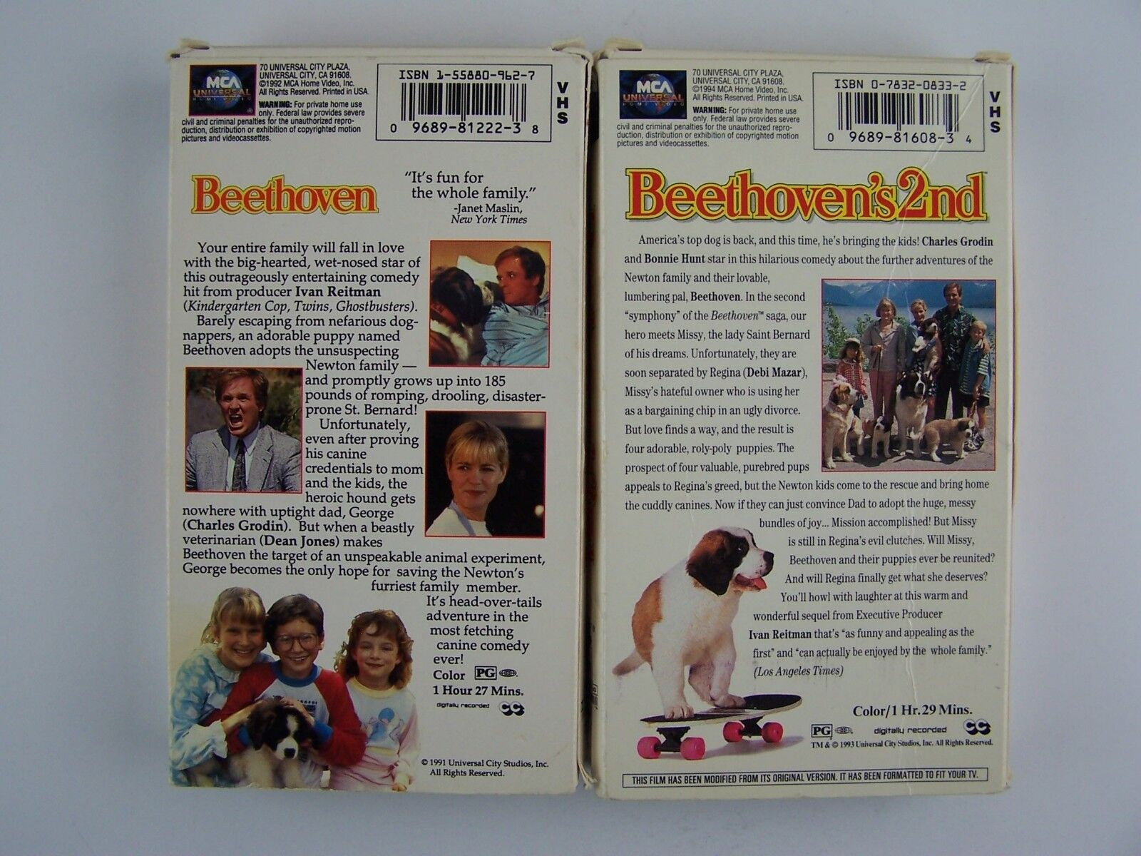 Beethoven & Beethoven's 2nd VHS Video Kids Tape Lot Cha