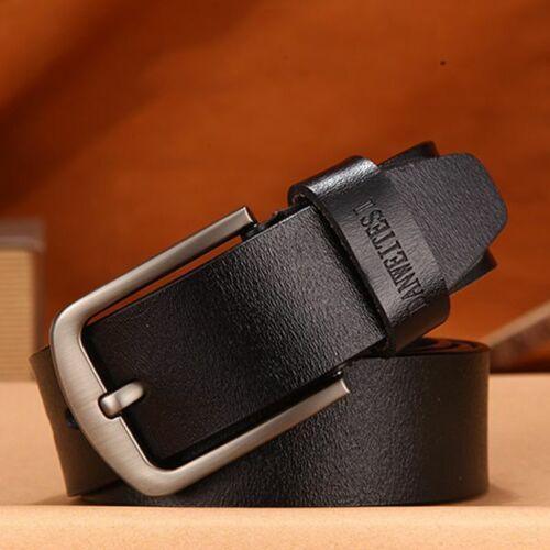 Men Genuine Leather Belts Vintage Fashion Pin Buckle Cow Skin Strap Male Belt