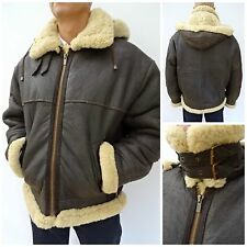 RARE Vintage HOODED B3 Shearling Sheepskin Bomber Aviator Leather Jacket XL 1276