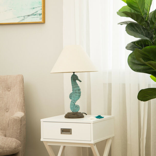Glitzhome Coastal Beach Marine Seahorse Table Lamp Desk Lighting Nautical Decor